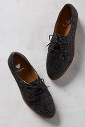 Anthropologie Bobbies La Majorette Glitter Oxfords Black