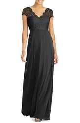 Dessy Collection Cap Sleeve Lace And Chiffon Gown Black