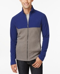 G.H. Bass And Co. Full Zip Fleece Jacket Blue Print