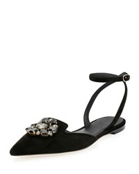 Dolce And Gabbana Jeweled Suede Ankle Wrap Flat Black