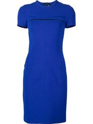 Yigal Azrouel Mesh Detail Dress Blue