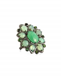 Bavna Chrysoprase Emerald And Diamond Floral Cocktail Ring