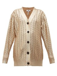Msgm Metallic Cable Knit Wool Blend Cardigan Gold