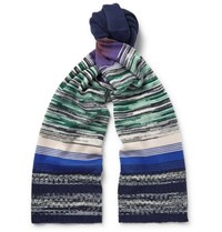 Missoni Striped Wool Blend Scarf Navy