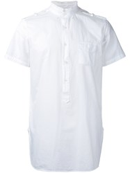 Wooster Lardini Short Sleeve Military Shirt Men Cotton M White