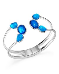 Ippolita Sterling Silver Rock Candy Wonderland Mixed Doublet Open Wire Hinged Bangle In Island Blue Silver