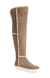 Rudsak Women's Baber Over The Knee Water Resistant Genuine Shearling Lined Boot Dove Natural Leather