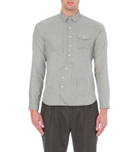 Lardini Micro Houndstooth Print Cotton Shirt Grey