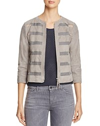 Armani Collezioni Sheer Inset Suede Jacket Gray