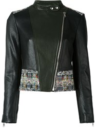 Alexander Mcqueen Tweed Panel Biker Jacket Multicolour