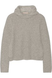 Michael Kors Collection Hooded Cashmere Sweater Stone