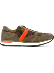 Moncler Camouflage Print Panelled Sneakers Grey