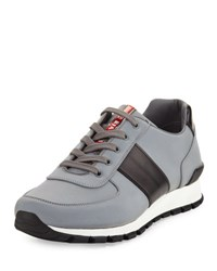 Prada Linea Rossa Reflective Textile And Leather Trainer Sneaker Silver Black