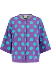 Stella Jean Polka Dot Cotton Cardigan Blue