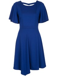 Loveless Asymmetric Flared Dress Blue