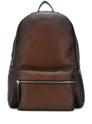 Orciani Zipped Pocket Backpack Brown