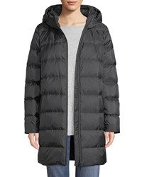 Eileen Fisher Printed Chevron Cocoon Puffer Coat Plus Size Charcoal Ash