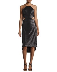 Halston Sleeveless Metallic High Low Cutout Dress Black