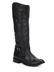 Frye Shirley Rivet Leather Riding Boots Black