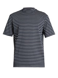 Lanvin Close Neck Striped Cotton T Shirt Navy Stripe