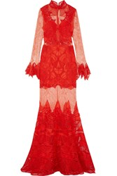 Jonathan Simkhai Guipure Lace Gown Red