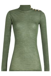 Balmain Wool Turtleneck Pullover With Embossed Buttons Green
