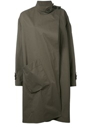 Christophe Lemaire Asymmetric Overcoat Women Cotton 36 Green