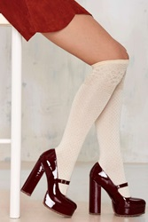Nasty Gal Knock Out Gold Knee High Socks