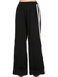 Y 3 Cotton Blend Wide Leg Track Pants Black