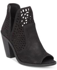 Jessica Simpson Cherrell Cutout Peep Toe Ankle Booties Women's Shoes Black