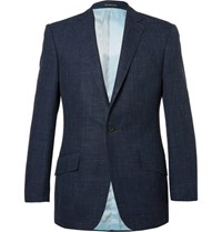 Richard James Blue Hyde Slim Fit Checked Wool Silk And Linen Blend Blazer Royal Blue