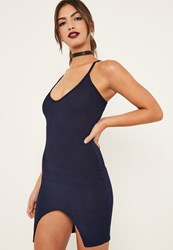 Missguided Navy Ribbed Front Split Bodycon Dress