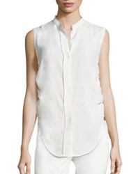 Helmut Lang Sleeveless Ruched Jacquard Blouse Navy White