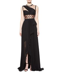 J. Mendel Sleeveless Embellished Waist Gown Noir Ruby Noir Red