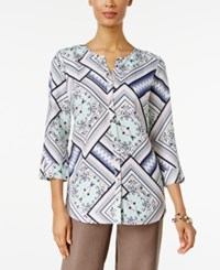 Jm Collection Printed Roll Tab Blouse Only At Macy's Serenity Multi