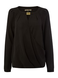 Biba Hardware Detail Wrap Blouse Black