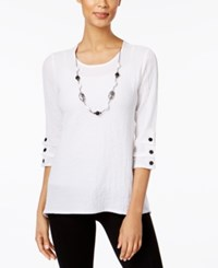 Alfred Dunner Lace It Up Collection Detachable Necklace Top White