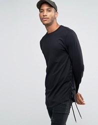 Asos Longline Long Sleeve T Shirt With Lace Up Detail And Curve Hem Black