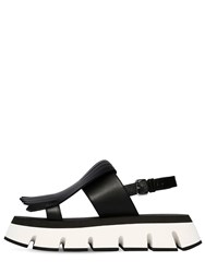 Marni 40Mm Fringed Leather Sandals Black