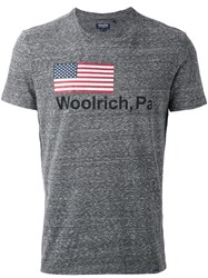 Woolrich Logo Print T Shirt Men Cotton Polyester Xl Grey