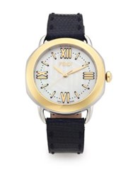 Fendi Selleria Mother Of Pearl 18K Goldplated Stainless Steel And Iguana Strap Watch Dark Blue
