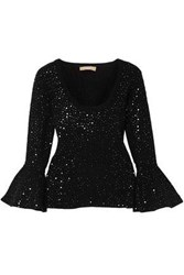 Michael Kors Fluted Sequin Embellished Stretch Knit Top Black