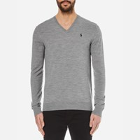 Polo Ralph Lauren Men's V Neck Cotton Knitted Jumper Fawn Grey Heather