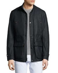 Michael Kors Rubberized Asymmetrical Leather Utility Jacket Black