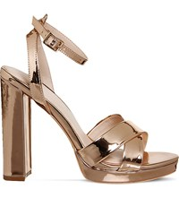 Office Nickle Metallic Platform Sandals Rose Gold Mirror