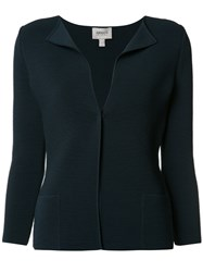 Armani Collezioni Flappy Collar Fitted Jacket Blue