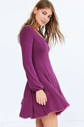 Ecote Topanga Cozy Ribbed Long Sleeve Mini Dress Purple