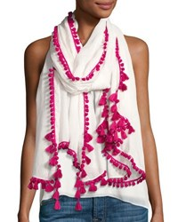 Neiman Marcus Mini Pompom Linen Blend Scarf Pink White