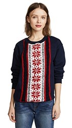 Michaela Buerger Stripe Snowflake Sweatshirt Blue Red