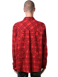 Off White Oversize Check Cotton Flannel Shirt Red